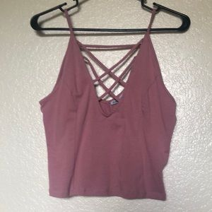 Matte pink crop too with caged front and low back